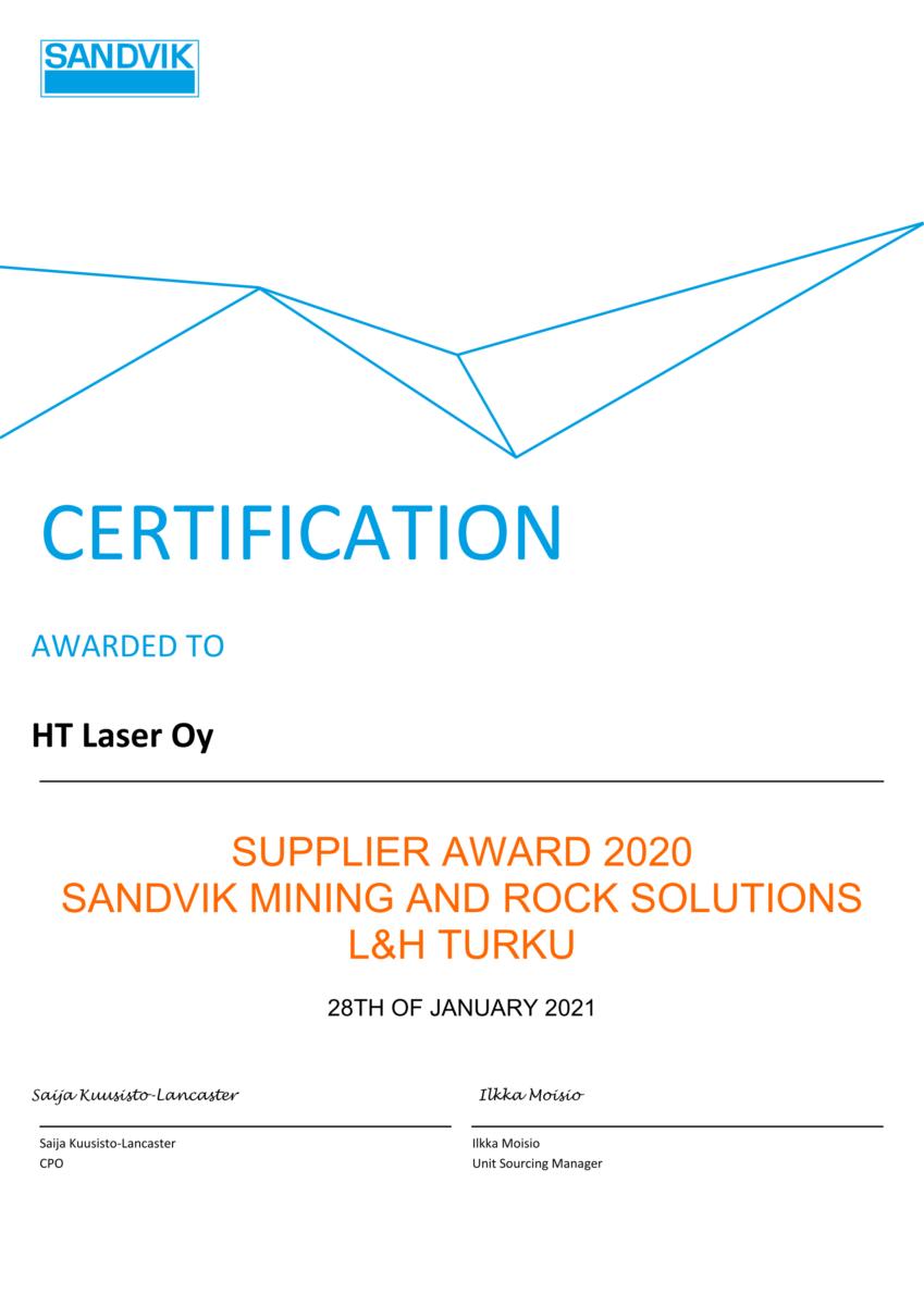 Sandvik Mining and Rock Solutions, Loading & Hauling Supplier Award 2020 myönnettiin HT Laserille